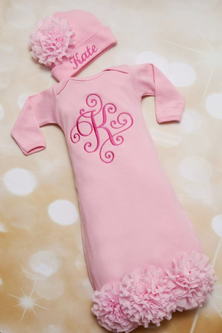 Pink Personalized Baby Girl Flower Gown Set & Matching Hat