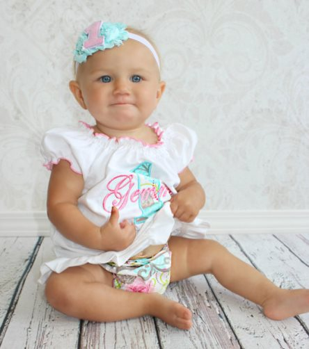 Aqua & Pink Baby Girl 1st Birthday Personalized Birthday Dress