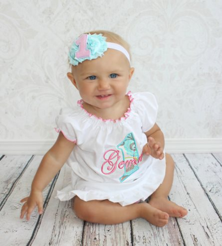 Aqua Pink Baby Girl 1st Birthday Personalized Dress