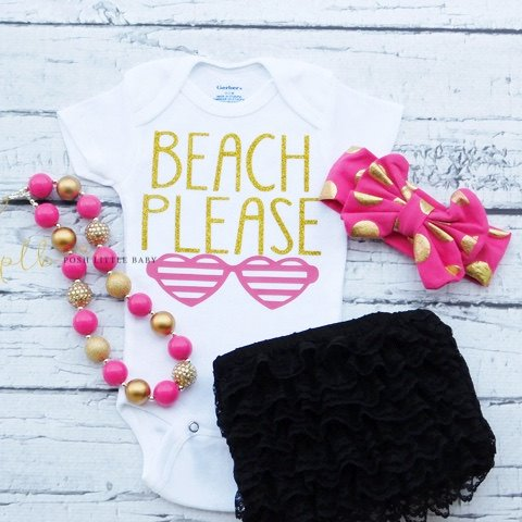 Beach Please Baby Onesie Bodysuit