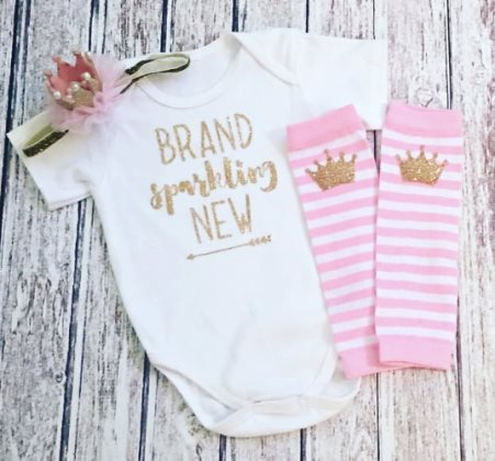 Pink and Gold Brand Sparkling New Glitter Outfit Set