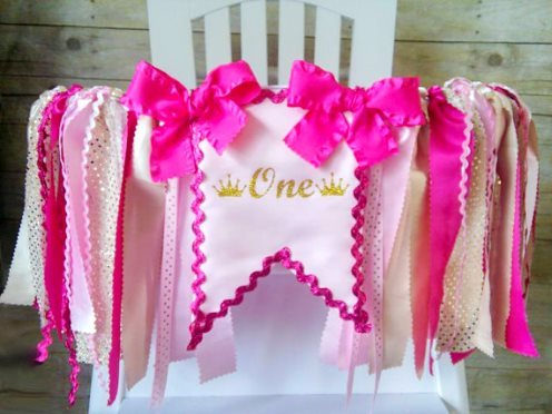 Crown Hot Pink & Gold First Birthday Party High Chair Banner