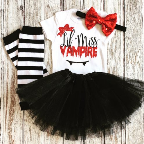 Lil Miss Vampire Baby Girl Halloween Costume Tutu Outfit Set