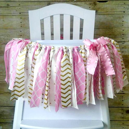 Light Pink & Gold First Birthday High Chair Banner