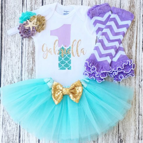 First Birthday Glitter Mermaid Sea Tutu Outfit Set