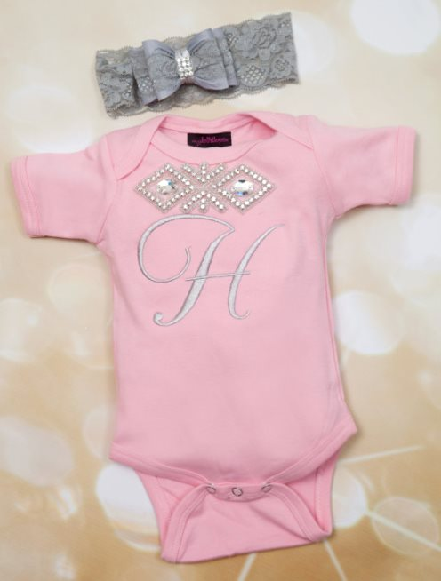 Personalized Pink & Grey Rhinestone Onesie with Matching Lace Headband