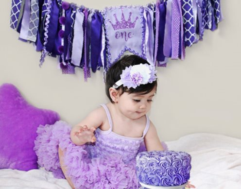 Purple Princess Crown First Birthday High Chair Banner