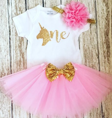Baby Girls First Birthday Pink & Gold Glitter Unicorn Tutu Outfit Set