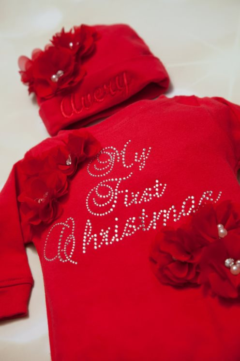 Red Rhinestone My First Christmas Romper & Matching Personalized Hat