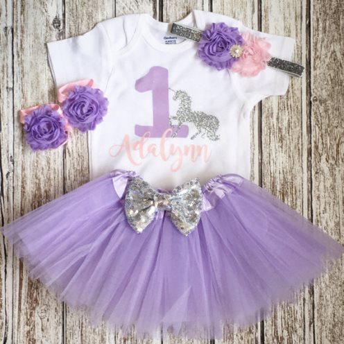 Pink & Lavender First Birthday Glitter Unicorn Tutu Outfit Set