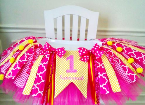 Hot Pink & Yellow Sunshine Personalized First Birthday High Chair Tutu Banner