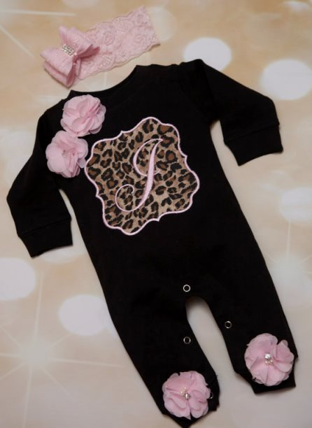 Black & Pink Personalized Leopard Romper Outfit Set