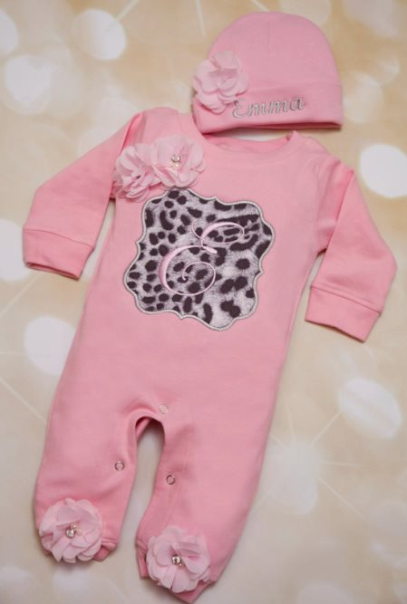 Pink & Grey Personalized Black Leopard Romper Outfit Set