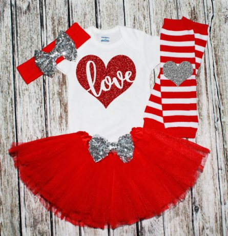 Red and Silver Glitter Heart LOVE Valentines Tutu Outfit Set