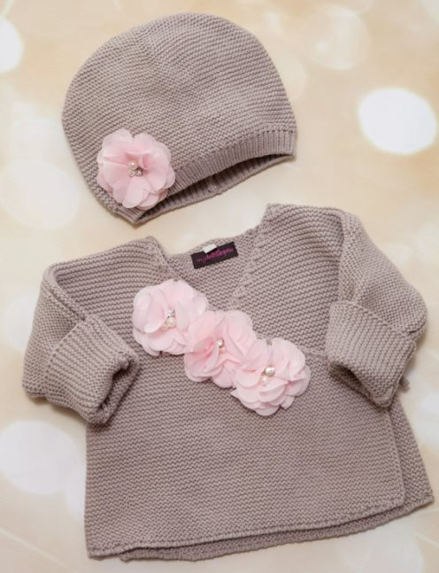 Beige Knitted Baby Girls Wrap Sweater & Matching Hat