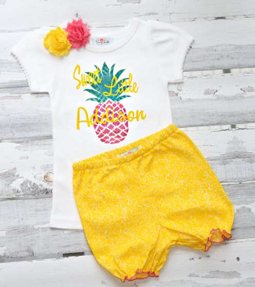 Sweet Summertime Personalized Pineapple Baby Girls Glitter Shirt Outfit Set