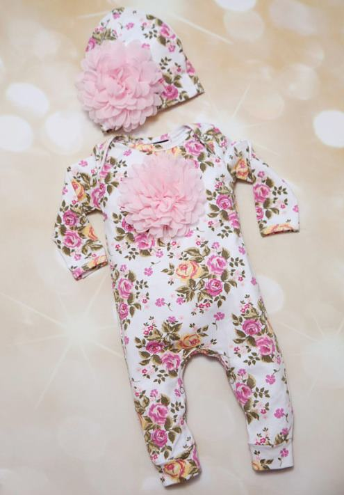 Pink Floral Infant Layette Baby Romper with Matching Flower Hat