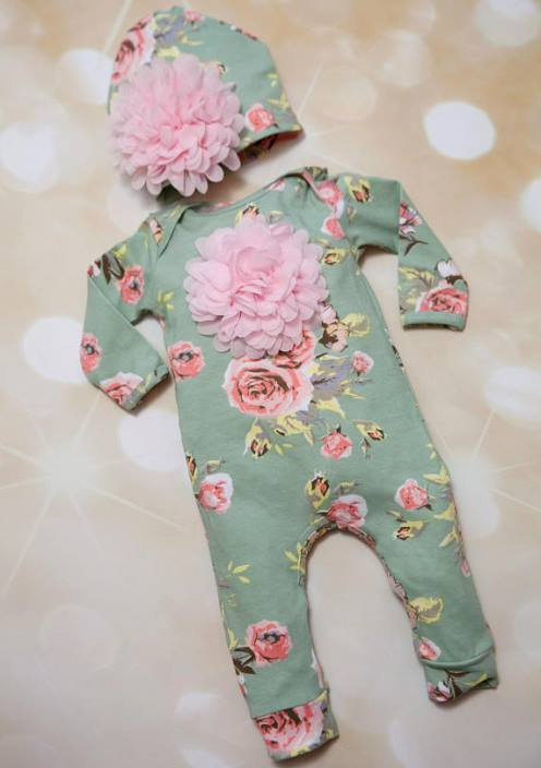 Floral Infant Layette Cotton Baby Romper and Matching Hat