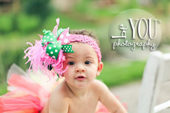 Hot Pink & Green Over the Top Hair Bow Headband