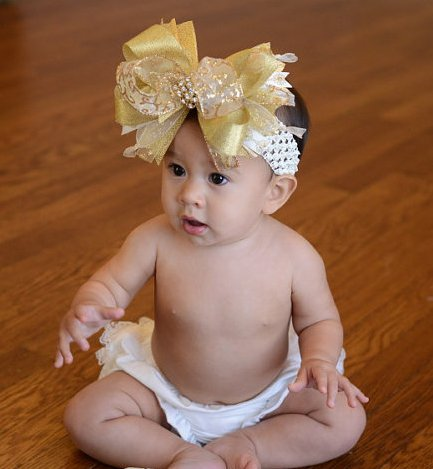 Christmas Gold and Cream Over The Top Hair bow Headband