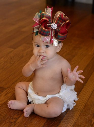 Holiday Red and Green Plaid Over The Top Hair Bow Headband