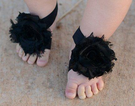 Infant Black Barefoot Sandals