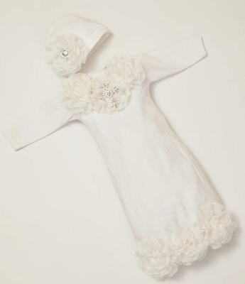 Baby Girls White Shabby Chiffon Rhinestone Cross Layette Gown & Headband Set