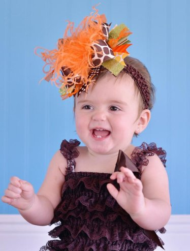 Fall Giraffe Over the Top Hair Bow Headband