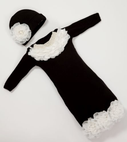 Infant Baby Layette Black Cotton Gown with Pearl Chiffon Collar & Matching Hat Set