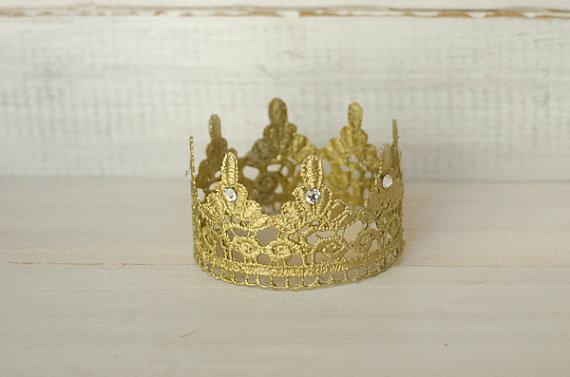 Gold Lace Newborn Crown with Swarovski Crystals