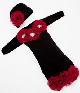 Black Infant Layette Baby Gown with Burgundy Chiffon Flowers & Rhinestones