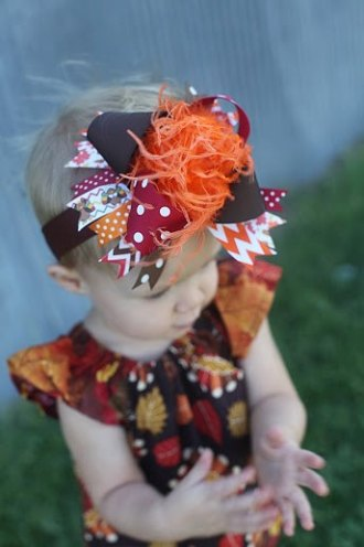 Thanksgiving Chevron Over The Top Hair Bow Headband