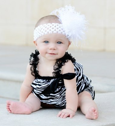 Infant Black & White Satin Zebra Petti Romper With Headband Set