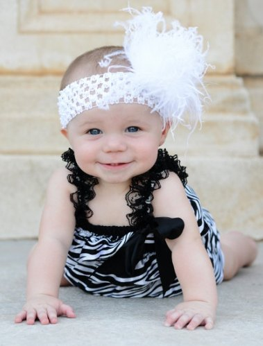 e10805824 Infant Black & White Satin Zebra Petti Romper With Headband Set