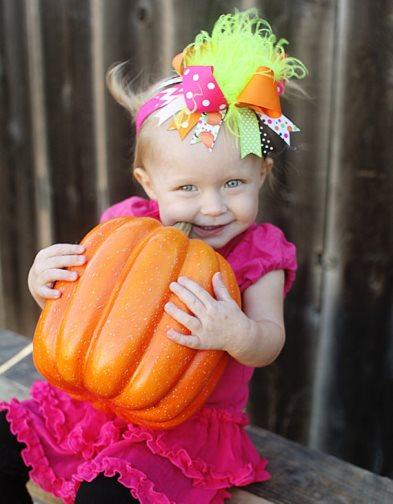 Bright Thanksgiving Pumpkins Over the Top Hair Bow Headband