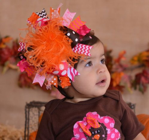 Orange Shocking Pink & Brown Chevron Hair Bow Headband