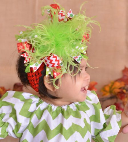 Christmas Red and Lime Polka Dot Chevron Over the Top Hair Bow Headband