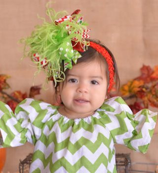 Christmas Red & Lime Polka Dot Chevron Over the Top Hair Bow Headband