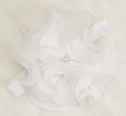 White Infant Layette Baby Gown with Large Off White Chiffon Flower & Headband