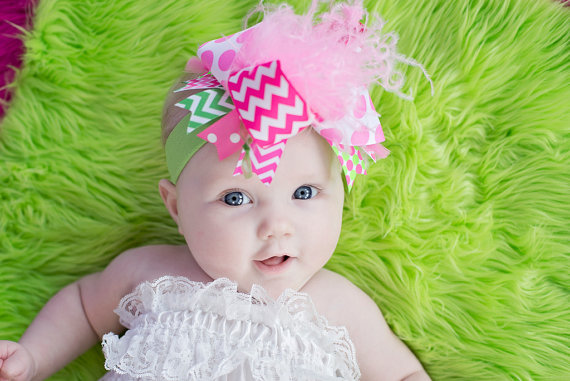 Hot Pink Chevron and Lime Green Over the Top Hair Bow Headband