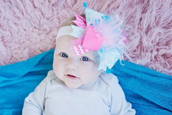 Hot Pink and Aqua Blue Over the Top Hair Bow Headband