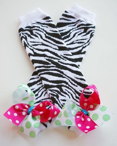 Zebra Leg Warmers with Colorful Bows