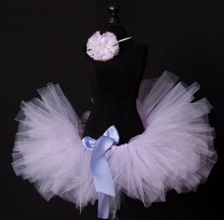 Lavender Baby Girl Tutu Skirt Set with Headband
