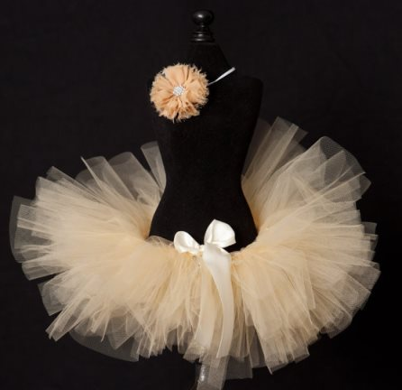 Ivory Baby Girl Tutu Skirt Set with Headband