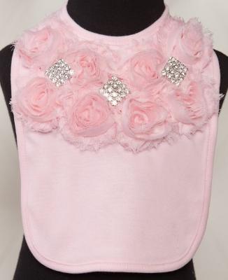 Pink Rhinestone Chiffon Baby Bib
