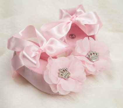 Newborn baby crib shoes and barefoot flower sandals for girl rhinestone crown chiffon flower baby girl ribbon tie shoes mightylinksfo