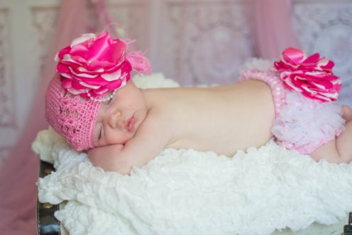 Pink Vintage Pearl Dot Flower Hat & Bloomer Set