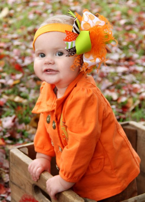 Orange Brown and Lime Fall Over the Top Hair Bow Headband