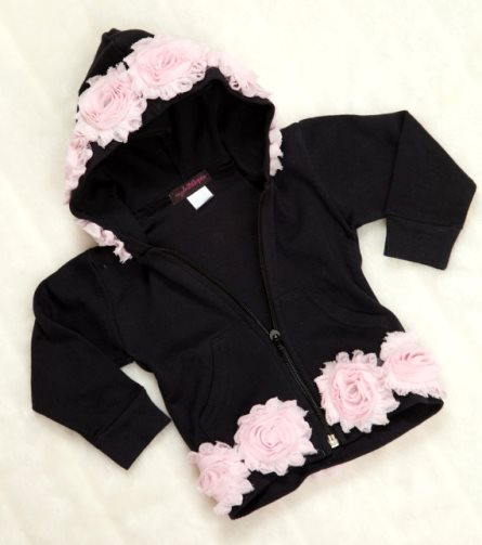 Baby Girl Black Hoodie Jacket with Chiffon
