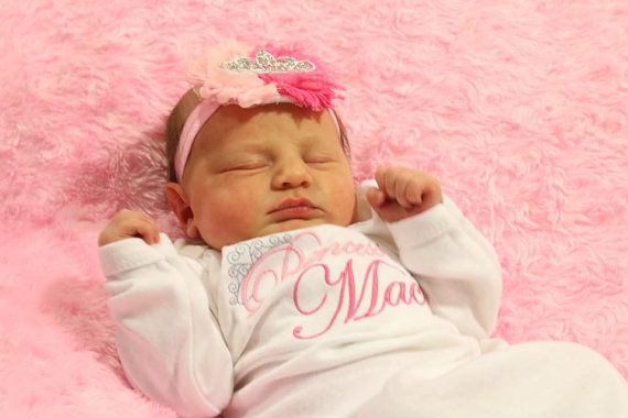 Personalized Take Home Outfit Layette Princess Gown & Headband Set